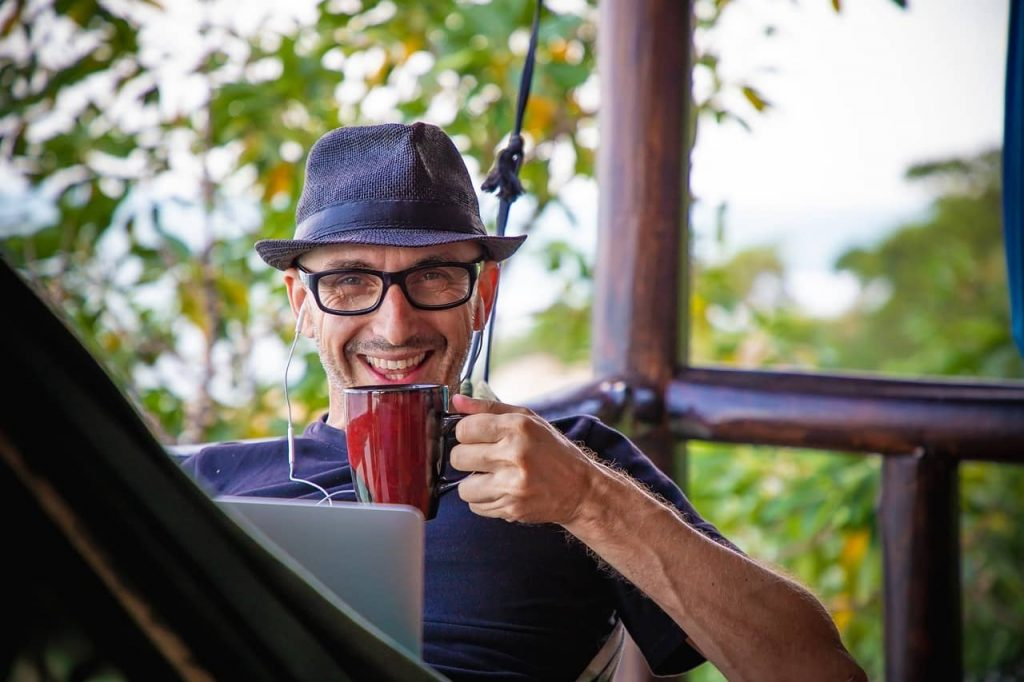 remote worker having coffee while working